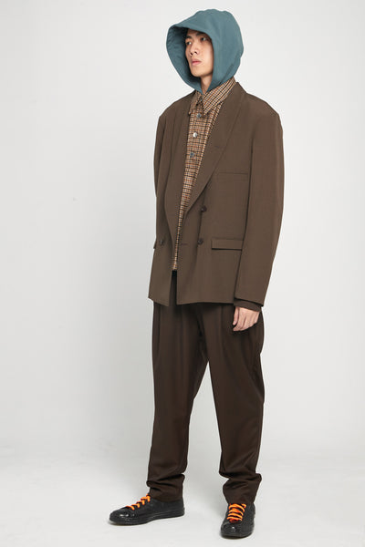 Dan Wide Leg Carrot Trousers Espresso Brown