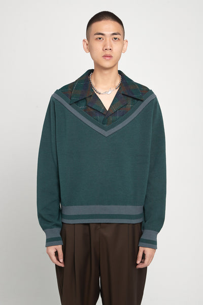 Closed Window - Formosa Collared Cardigan Eclipse Green + Macchiato Brown Plaids