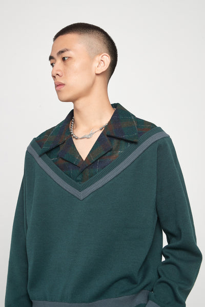 Formosa Collared Cardigan Eclipse Green + Macchiato Brown Plaids