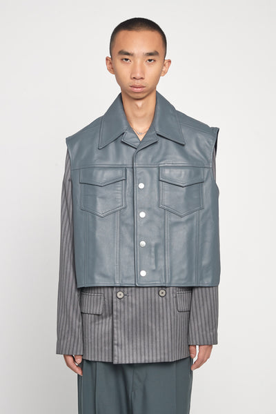 Closed Window - Tom Pullover Leather Vest Glacier Blue