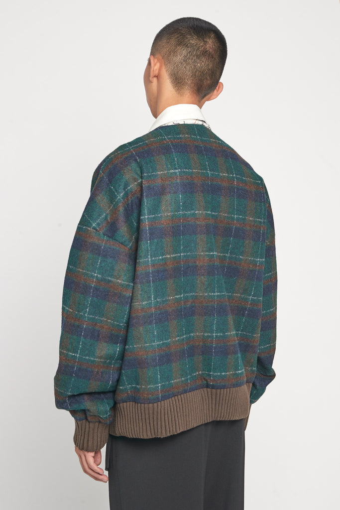 Koji Drawcord Cardigan Bomber Eclipse Green Cinnamon Brown Flannel