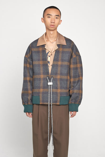 Closed Window - Koji Drawcord Cardigan Bomber Indigo Mustard Plaids