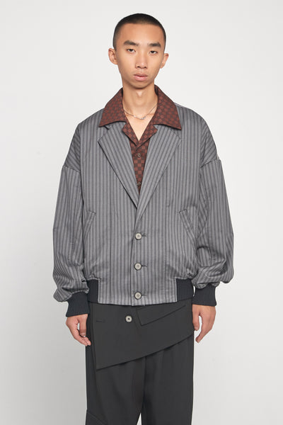 Closed Window - Fort Notch Lapel Loose Bomber Mud Grey Pinstripe