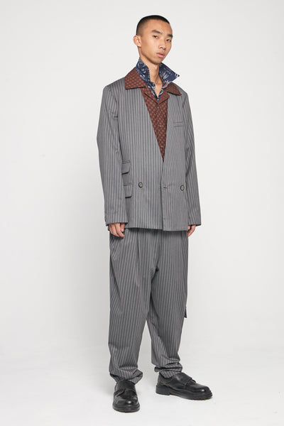 Kin Collarless Mandarin Suit Mud Grey Pinstripe