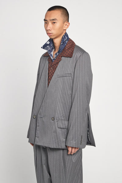 Closed Window - Kin Collarless Mandarin Suit Mud Grey Pinstripe