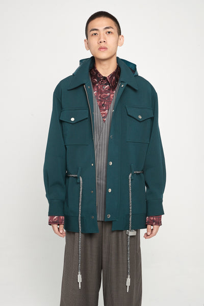 Closed Window - Sahara Field Oversized Hooded Jacket Gabardine Green