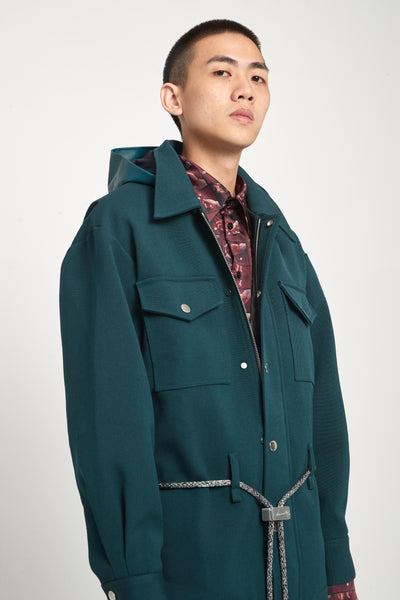 Sahara Field Oversized Hooded Jacket Gabardine Green