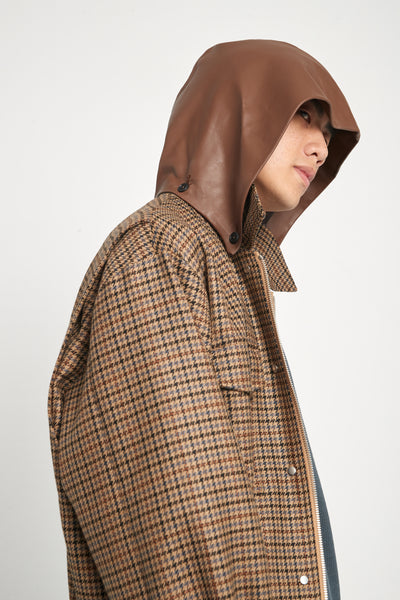 Sahara Field Oversized Hooded Jacket Spiced Latte Houndstooth