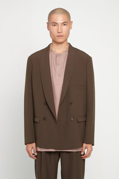 Lemaire - Double Breasted Jacket Coffee