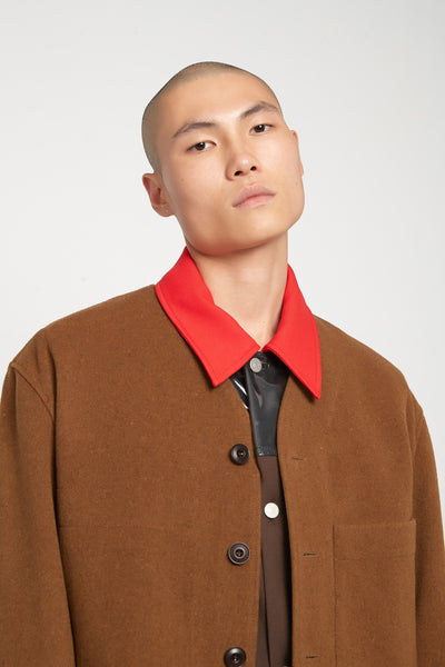 V-Neck Liner Jacket Cognac