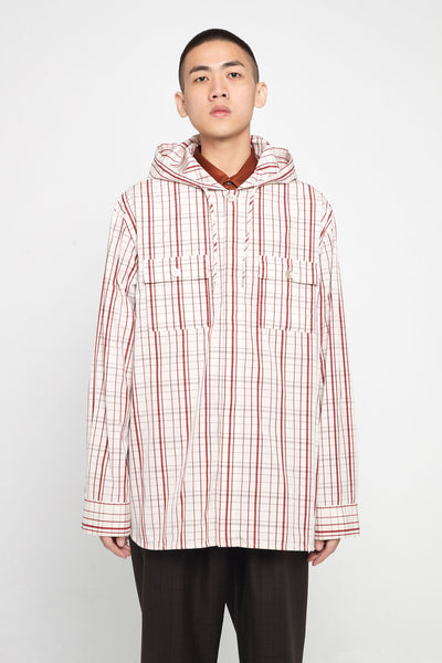 Marni - Ivory Red Check Hooded Shirt