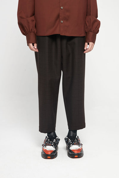 Marni - Brown Shadow Check Wool Cropped Trousers