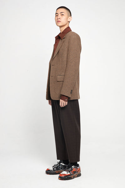 Brown Shadow Check Wool Cropped Trousers