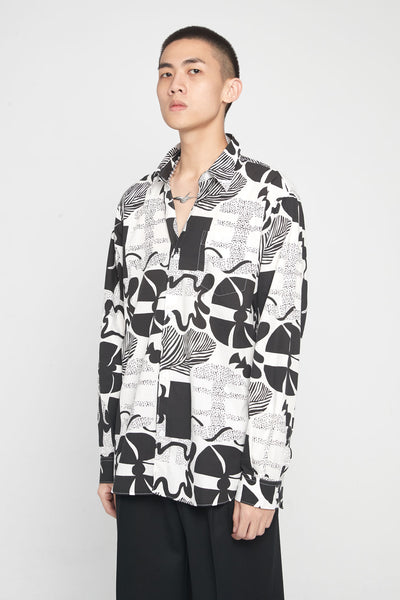Très Bien - Classic Shirt Heather Print Black/White