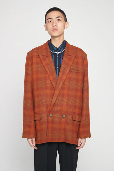 Closed Window - Kin Guitar Strap Peak Lapel Suit Spiced Orange Plaids