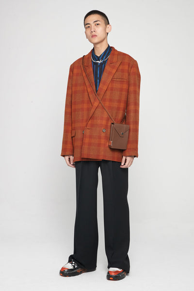 Kin Guitar Strap Peak Lapel Suit Spiced Orange Plaids