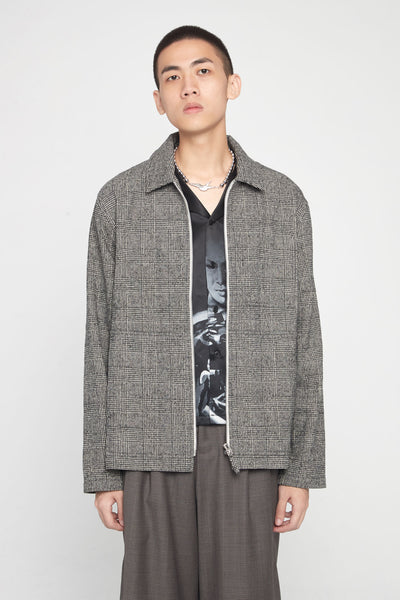 Très Bien - Zip Blouson Wool Check Light Grey
