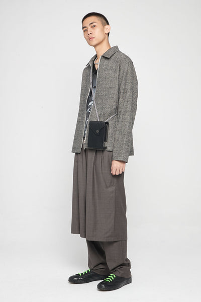 Zip Blouson Wool Check Light Grey
