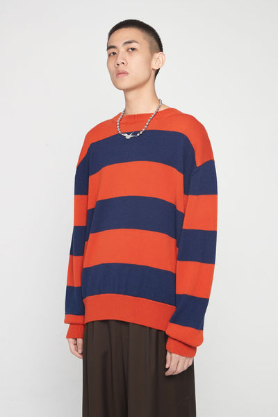 Très Bien - Drop Shoulder Knit Stripe Blue/Orange