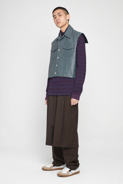 Half Zip Sweatshirt Stripe Plum/Navy