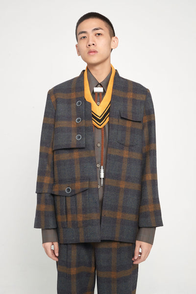 Closed Window - Point Deconstructed Cardigan Suit Indigo Mustard Plaids