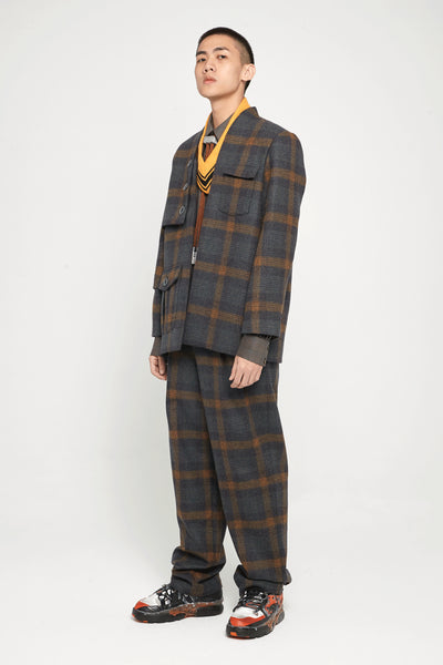 Point Deconstructed Cardigan Suit Indigo Mustard Plaids
