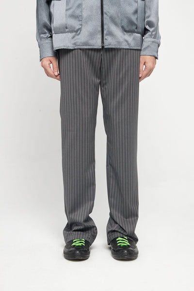 Closed Window - Rik Tailored Straight Leg Trouser Mud Grey Pinstripe