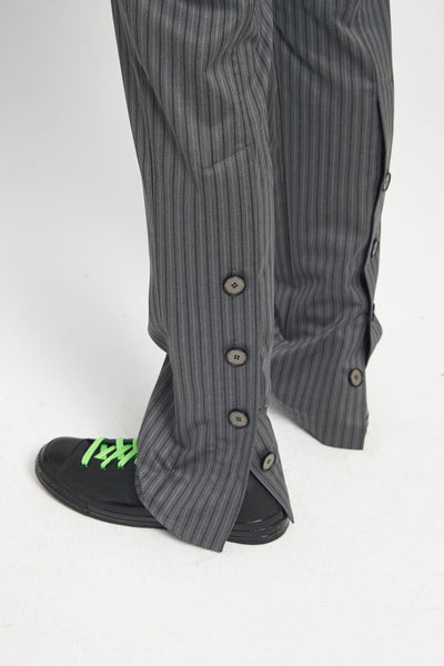 Rik Tailored Straight Leg Trouser Mud Grey Pinstripe