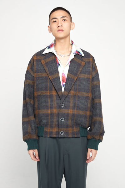 Closed Window - Fort Notch Lapel Loose Bomber Polish Indigo Mustard Plaids