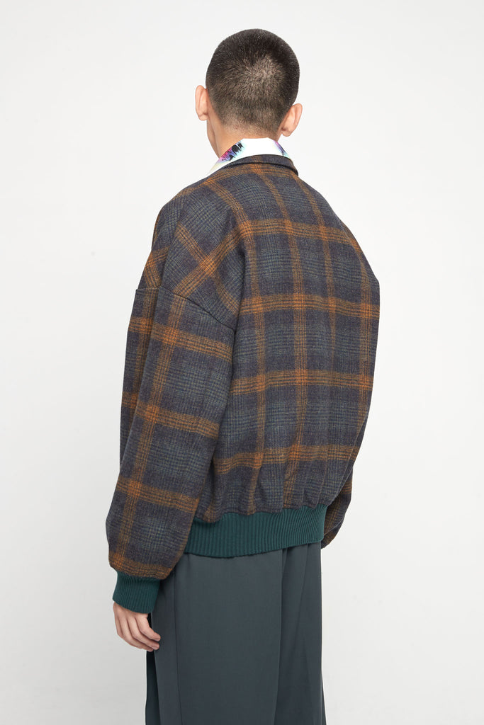 Fort Notch Lapel Loose Bomber Polish Indigo Mustard Plaids