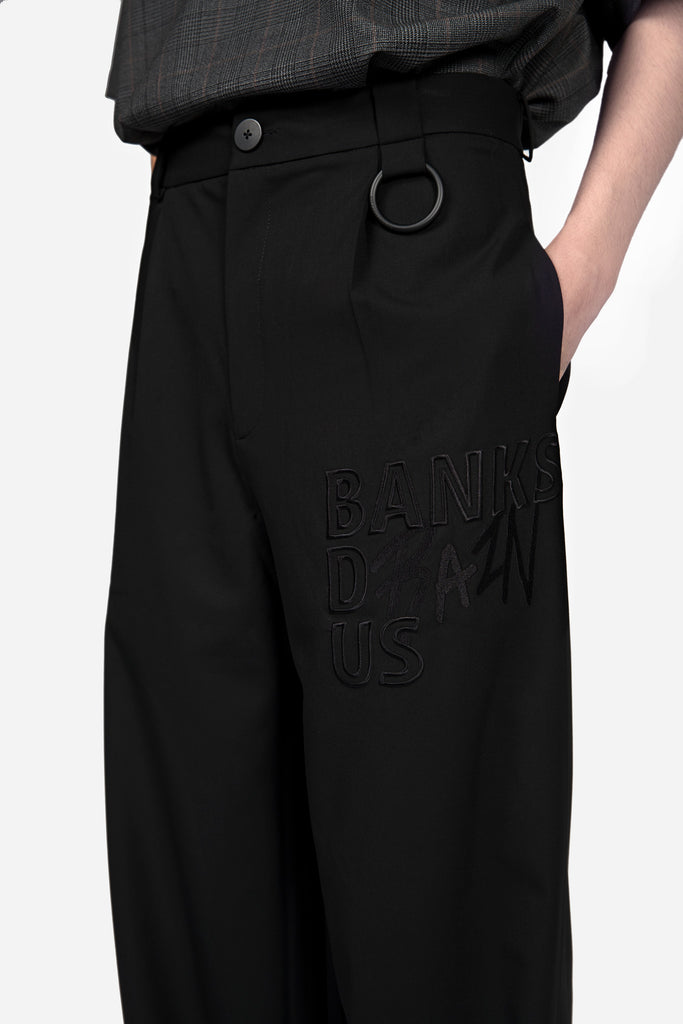 Banks Drain Us Dobby Straight Trouser Dry Onyx