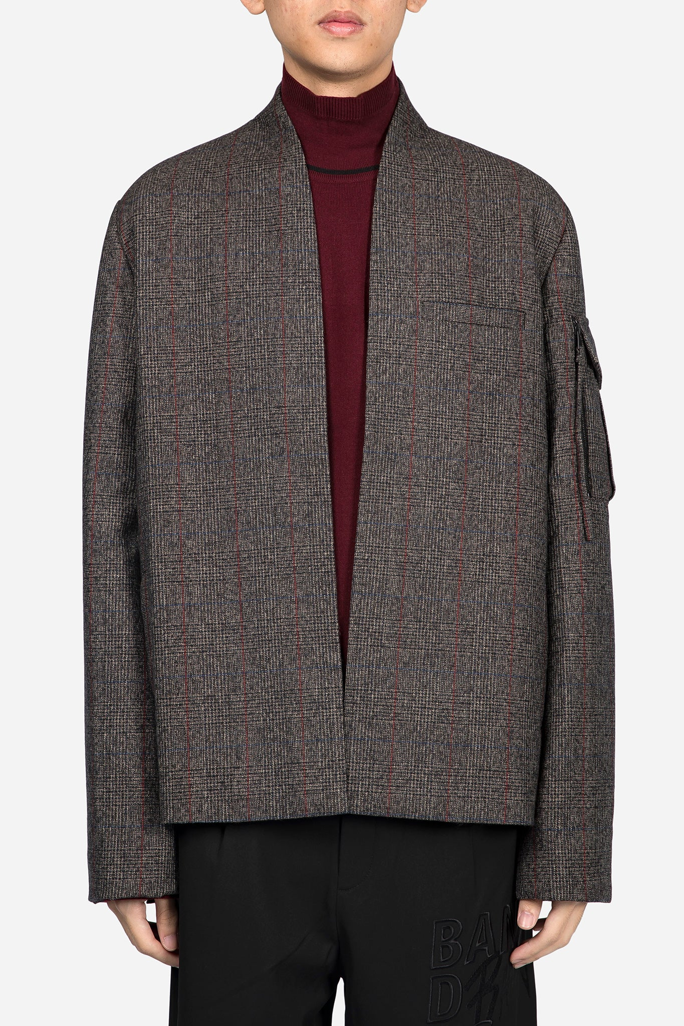 Point Cardigan Suit Brown Red Check