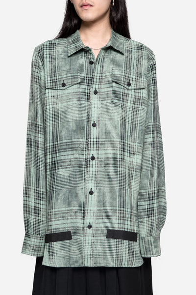 Off-White - Mint Linen Check Shirt