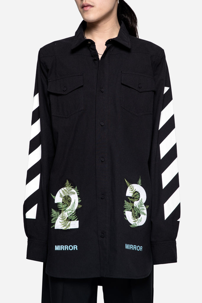 Diagonal Fern Shirt Black
