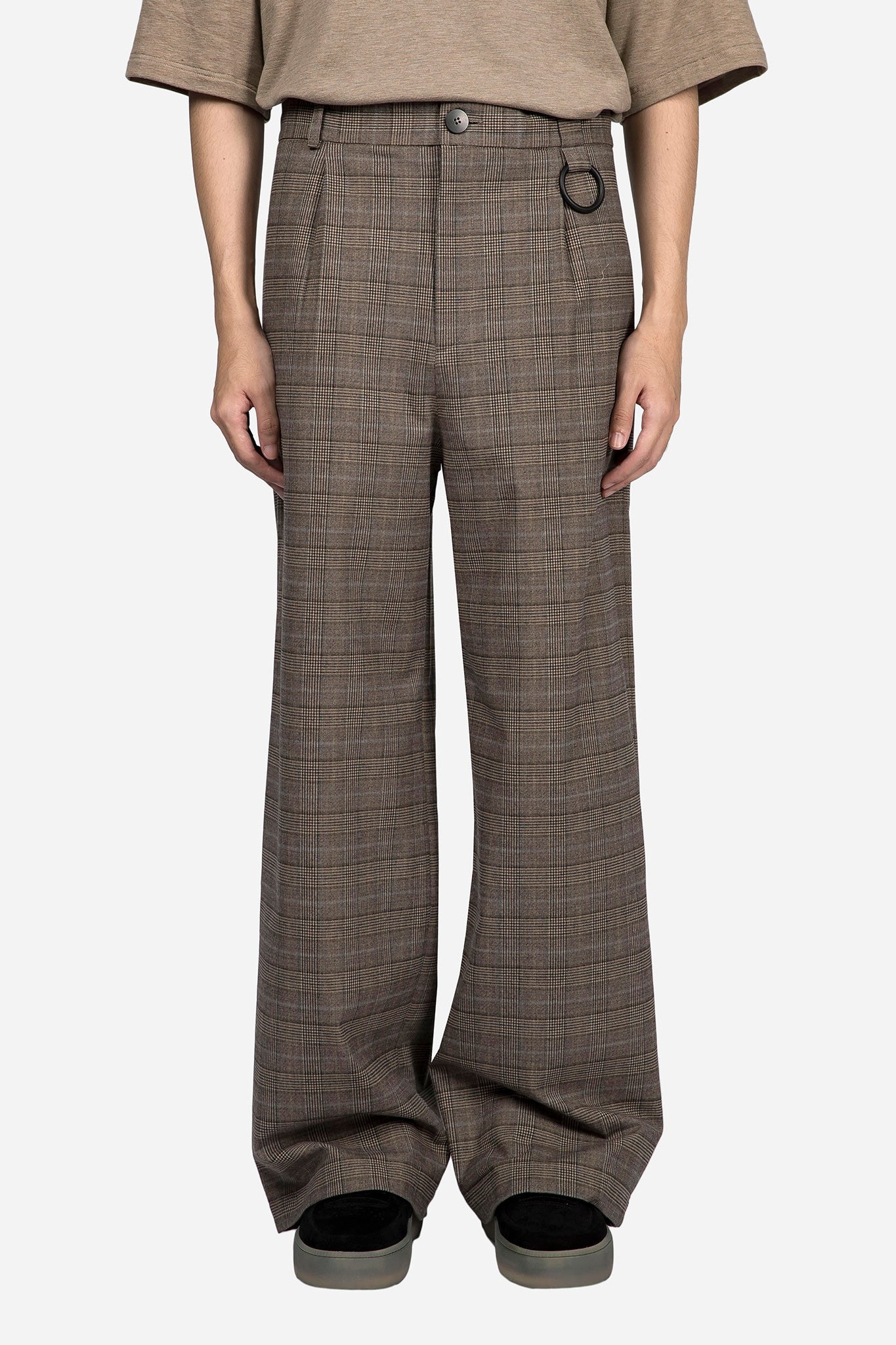 Dobby Straight Trouser Light Brown Cloud Grid
