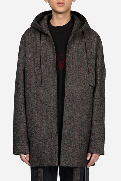 Banks Drain Us - Norman Hooded Oversized Coat Brown Red Check