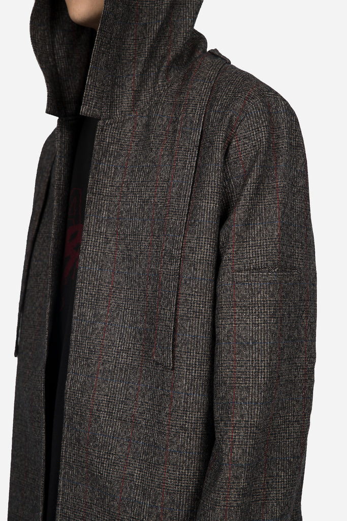 Norman Hooded Oversized Coat Brown Red Check
