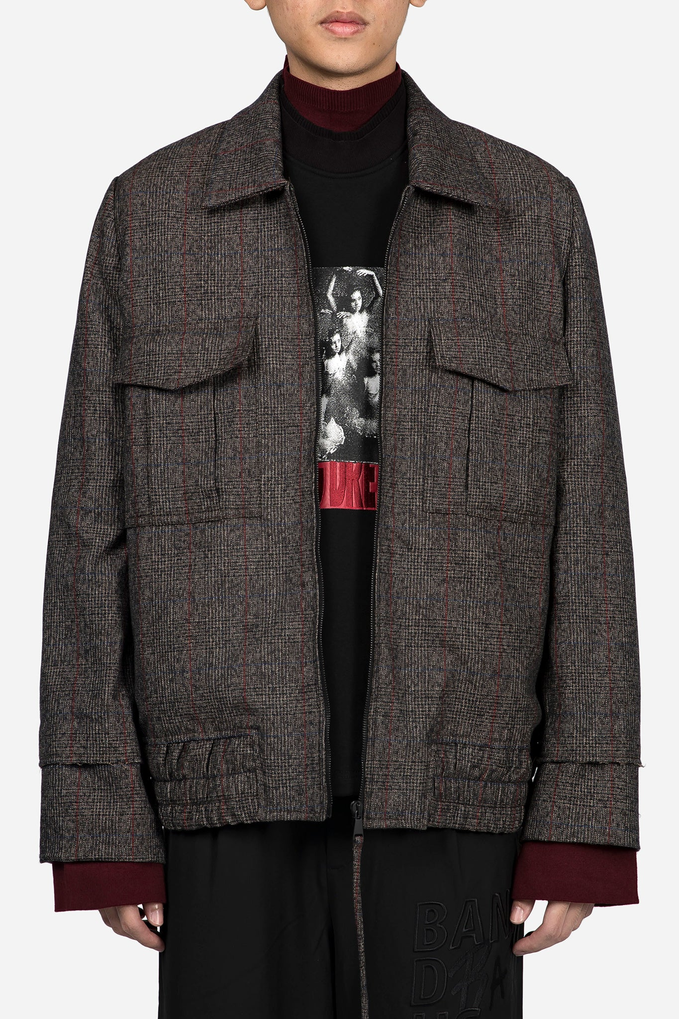 Seth Oversized Blouson Brown Red Check