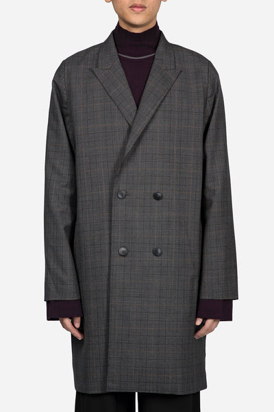 Banks Drain Us - Polar Strap Double Breast Coat Grey Gold Check