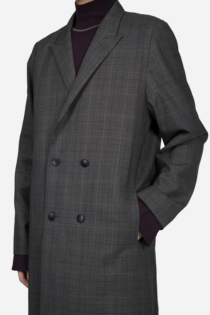 Polar Strap Double Breast Coat Grey Gold Check