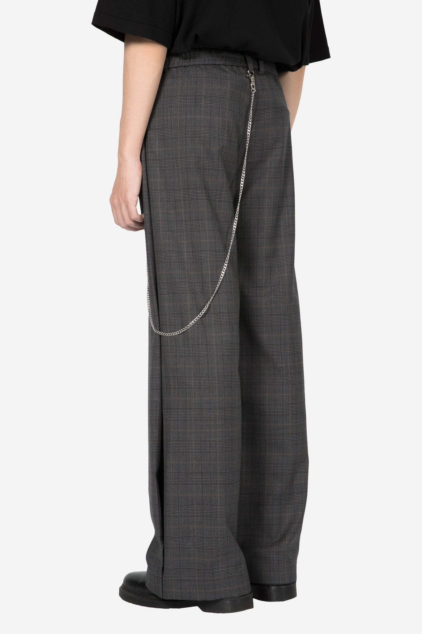 Dobby Flared Trouser Grey Gold Check