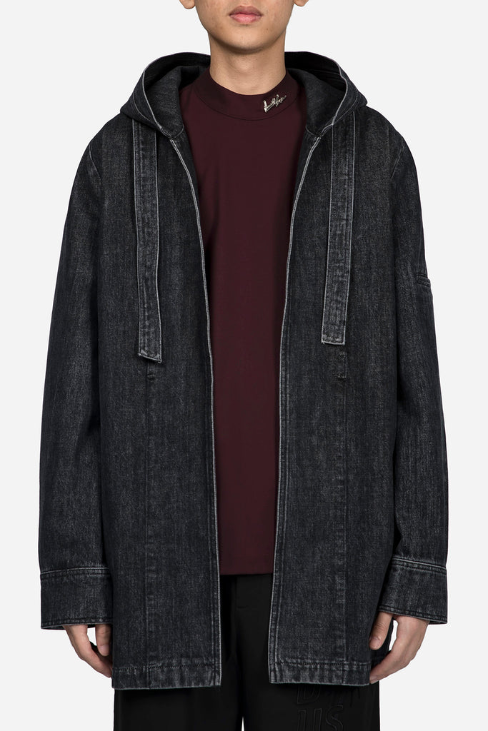 Norman Hooded Oversized Coat Greystone Drain Wash