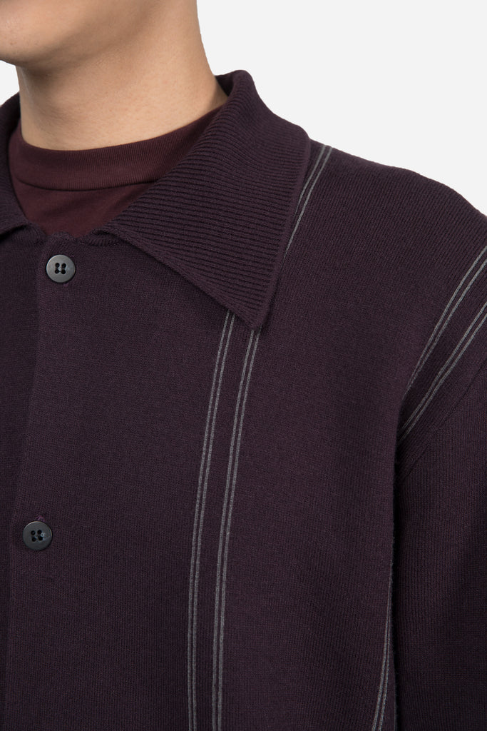 Narc Collar Long Cardigan Rasin Purple Greystone