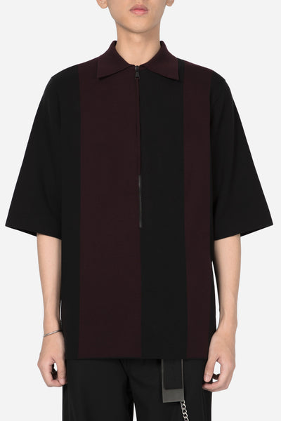 Banks Drain Us - Lowell Zip Polo Shirt Dry Onyx Merlot Red