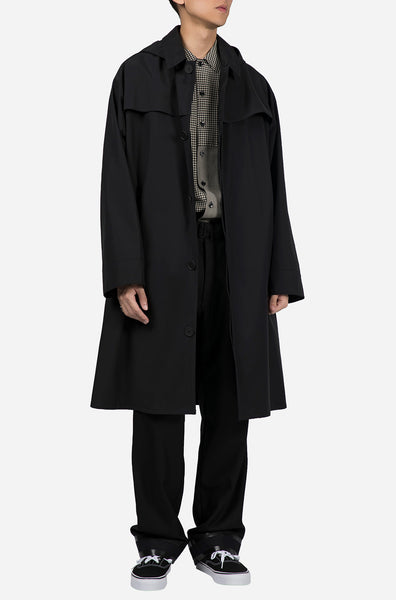Hooded Trench Coat Black