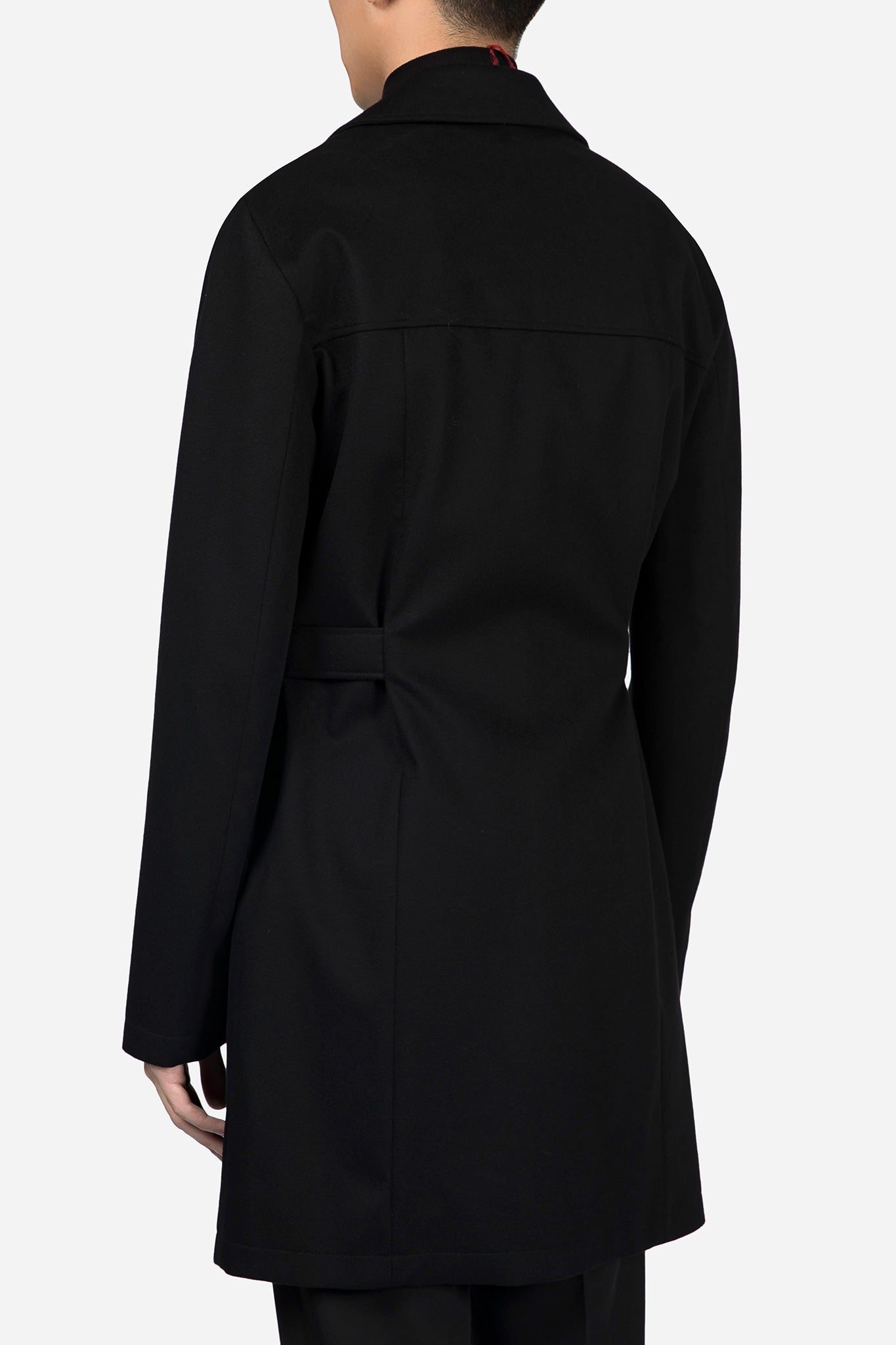 Cashmere Belted Trench Coat Black