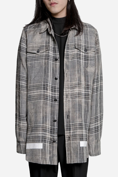 Off-White - Linen Check Shirt Beige
