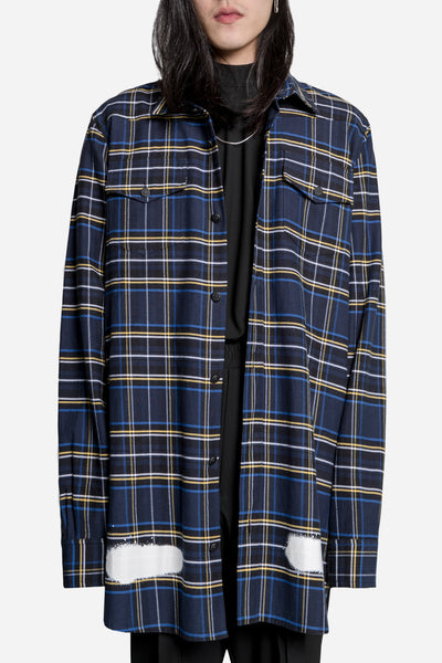 Off-White - Diagonal Spray Check Shirt Blue/Yellow