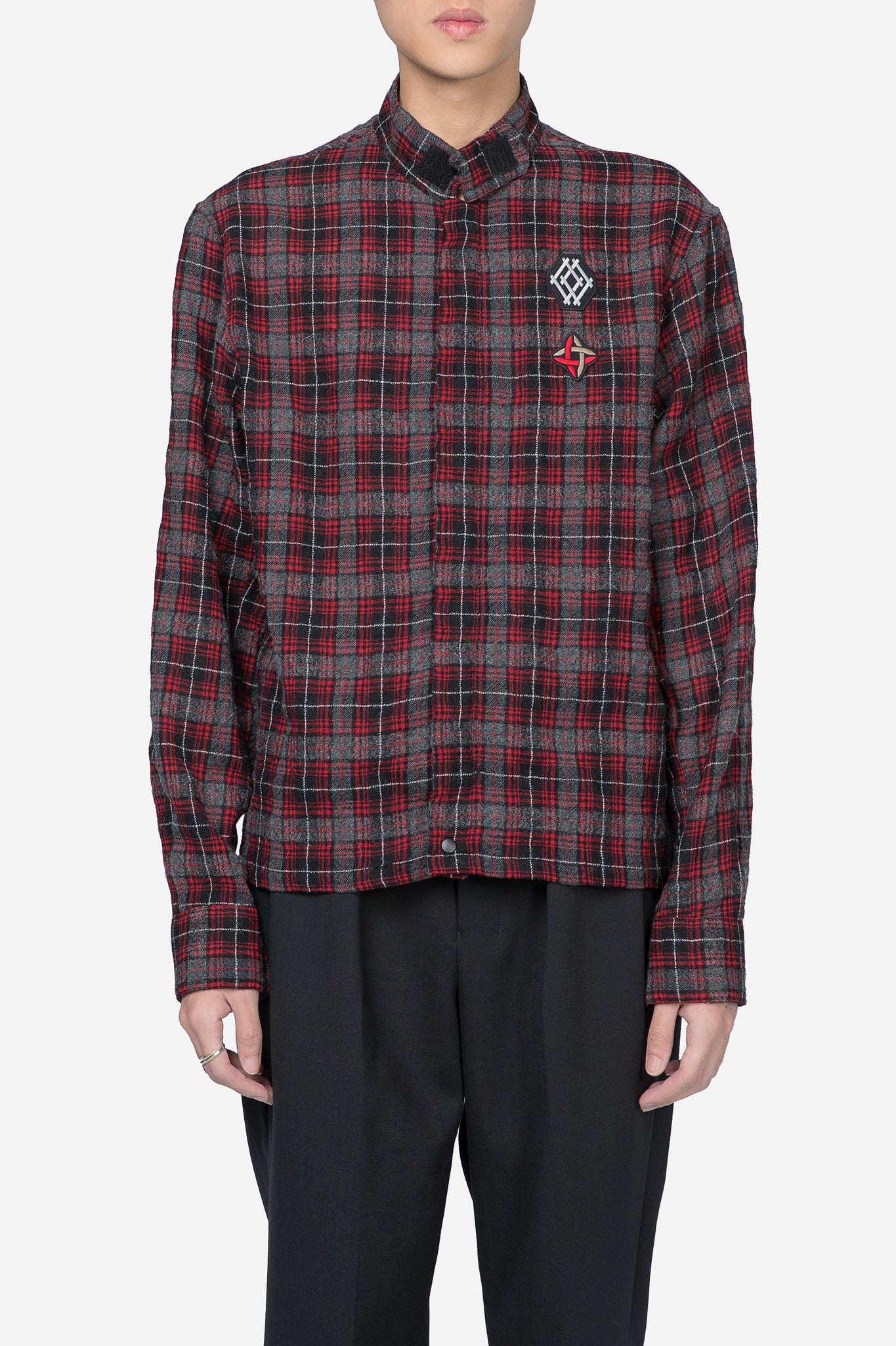 Patch Zip Jacket Shirt Red