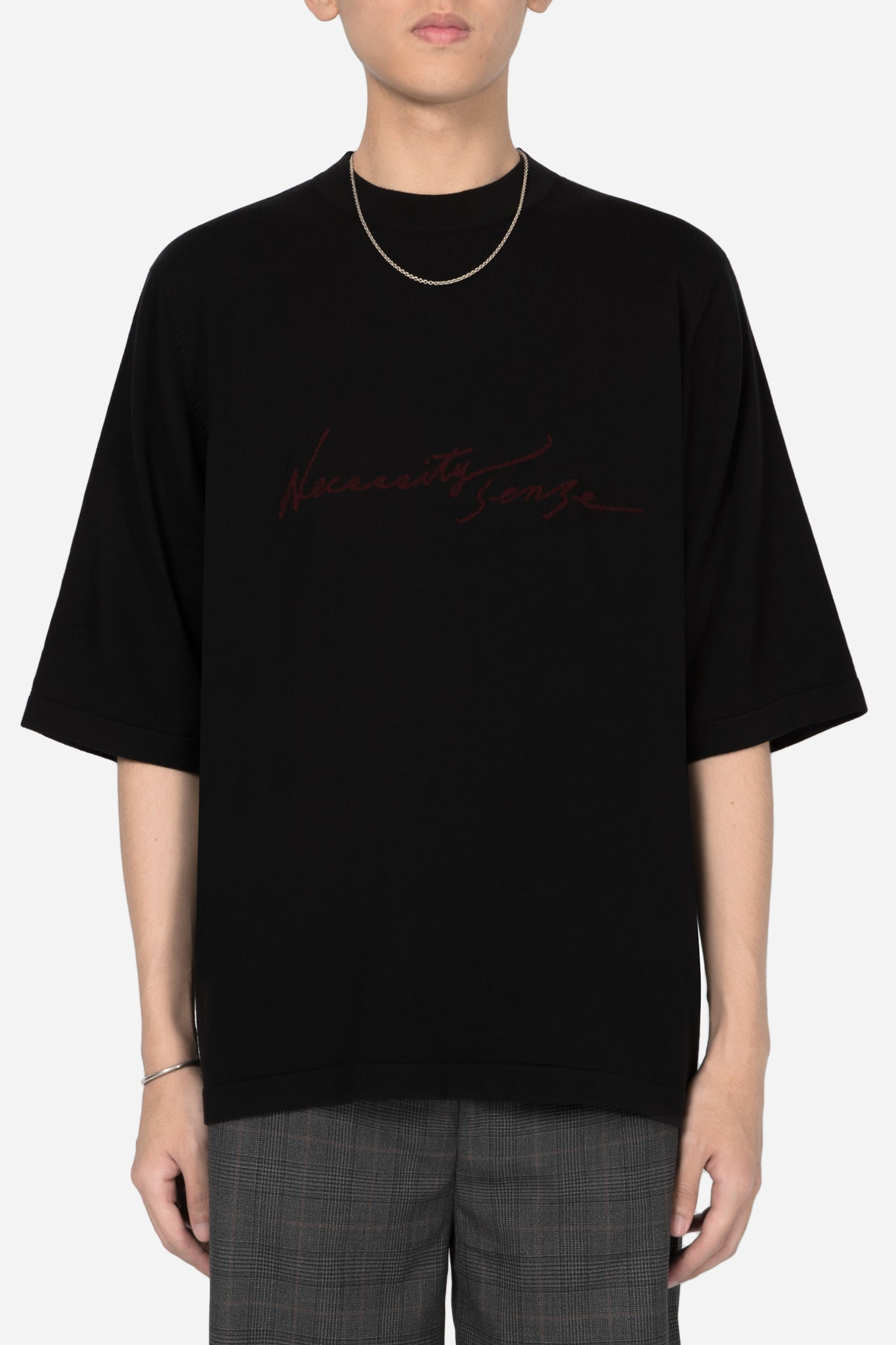 NS Logo Uniform Mock Knit Tee Dry Onyx + Merlot Red